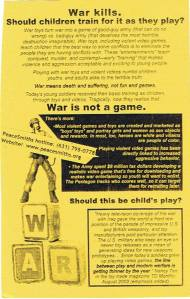 Image of war toys flier, from War Resisters League