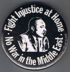Button from PeaceSmiths Archives: No War in The Middle East